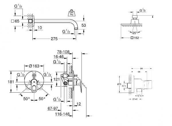 Dane techniczne elementów zestawu Grohe Bauloop 150-image_Grohe + Bossini_GR/BAULOOP/150_2