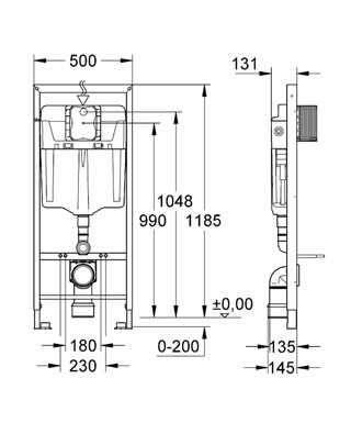 Wymiary techniczne stelaża podtynkowego do wc Grohe Rapid 5w1 39448000 -image_Grohe_38827000W_6