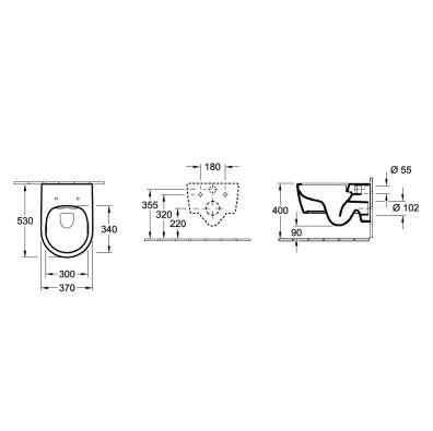 Rysunek techniczny miski wiszącej Villeroy&Boch Aveno -image_Geberit / Villeroy Boch_UP320/AVENTO/S20KJ_4