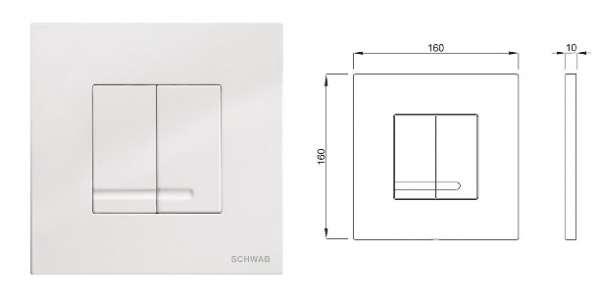 Wymiary techniczne przycisku spłukującego Arte Duo biały -image_Schwab + Roca_SCHWAB/ARTEDUO/GAP_3