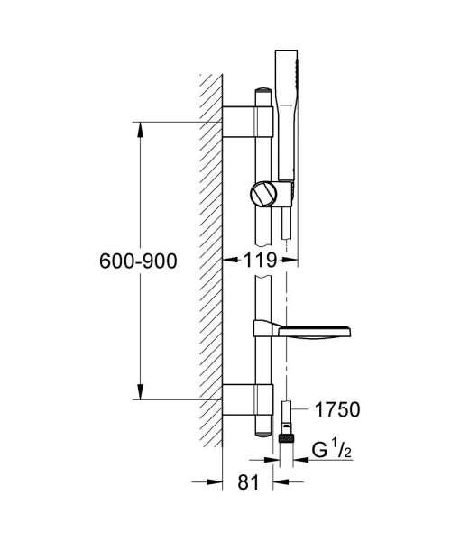 Wymiary techniczne zestawu natryskowego z drążkiem Grohe Euphoria Cosmopolitan 27368000-image_Grohe_27368000_4