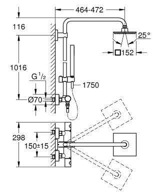 Wymiary techniczne zestawu prysznicowego Grohe Euphoria 27932000-image_Grohe_27932000_4