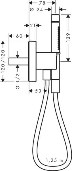 Wymiary techniczne zestawu Porter Hansgrohe Axor Strack 12626000-image_Hansgrohe_12626000_3