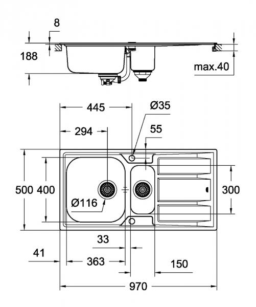 Wymiary techniczne zlewu Grohe 31567SD0.-image_Grohe_31567SD0_3