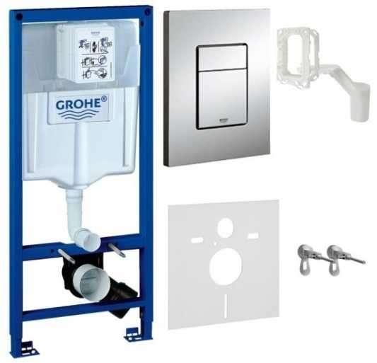 Spłuczka podtynkowa do wc Grohe Rapid 5w1. W komplecie stelaż podtynkowy do wc, przycisk spłukujący Skate Cosmopolitan, wsporniki montażowe, przekładka akustyczna.-image_Grohe_38827000_1