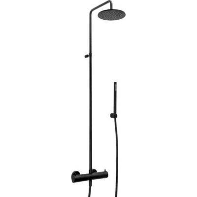 Czarna ścienna kolumna prysznicowa z termostatem i deszczownicą 225 Paffoni Light Black ZCOL684LIQNO
