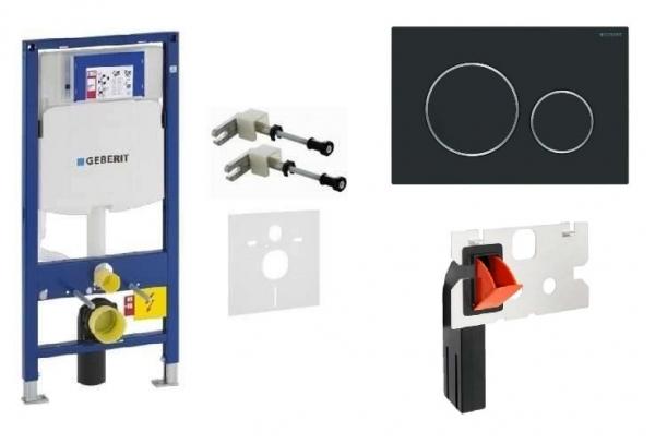 Zestaw podtynkowy do wc składający się ze stelaŻĄ Geberit up320 przycisku Sigma 20 w kolorze czarnym matowym oraz kostkarki-image_Roca_A359097000_1