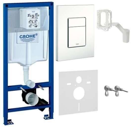 Spłuczka podtynkowa do wc Grohe Rapid 5w1. W komplecie stelaż podtynkowy do wc, przycisk spłukujący Skate Cosmopolitan, wsporniki montażowe, przekładka akustyczna.-image_Grohe_38827000W_1