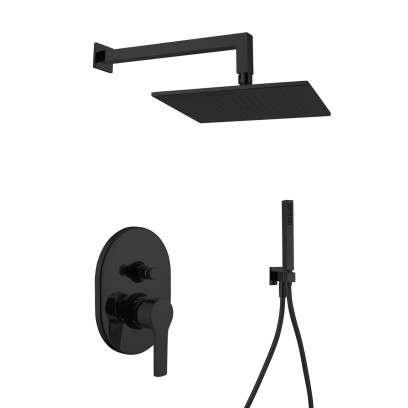 Podtynkowy zestaw prysznicowy czarny mat Gaboli Black Cube 200-image_gaboli_black_200_cube_1