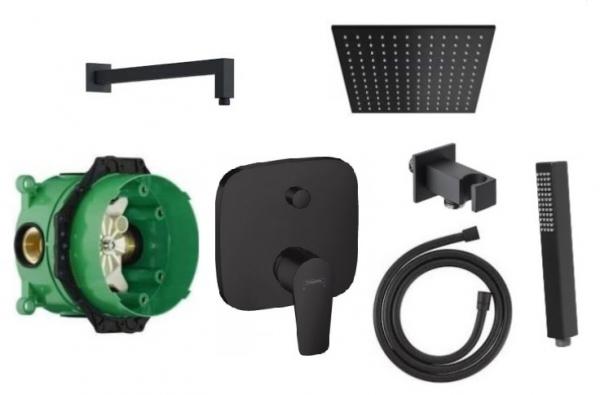 Czarny podtynkowy zestaw prysznicowy Hansgrohe Talis E Black z deszczownią 200