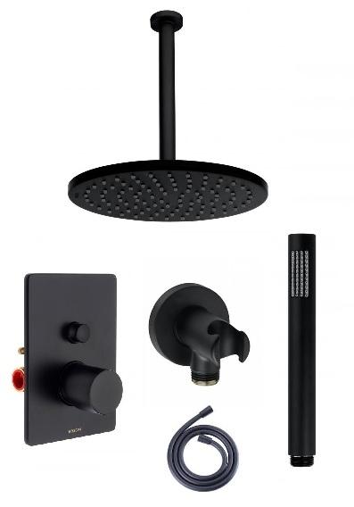 Czarny podtynkowy zestaw prysznicowy z deszczownica na ramieniu sufitowym.